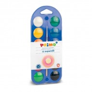 Νερομπογιές Primo 30mm X 12 Χρώματα Με Πινέλο