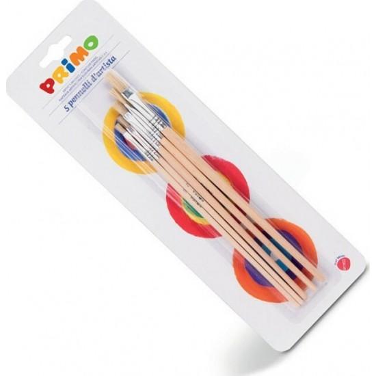 Πινέλα Πλακέ Διάφορα Μεγέθη Primo σε καρτέλα 5τμχ