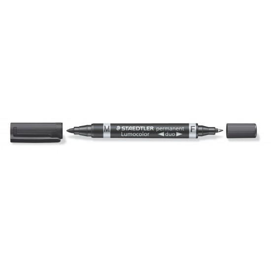 Μαρκαδόρος ανεξίτηλος Staedtler Lumocolor duo 0.6mm 1.5mm Μαύρο