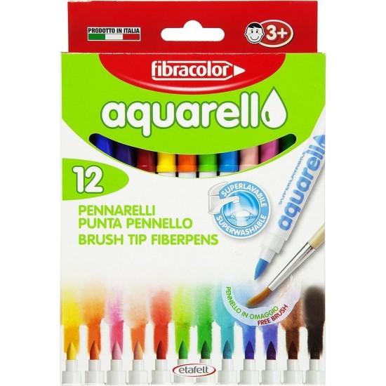 Μαρκαδόροι Fibracolor Aquarell washable 12 Χρώματα