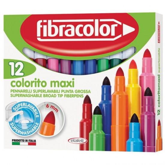 Μαρκαδόροι Fibracolor Colorito Maxi washable 12 Χρώματα