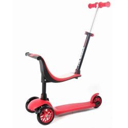 Πατίνι παιδικό με κάθισμα Fun Wheels 'mini 3 in 1' με φωτιζόμενες ρόδες 1-5 ετών - κόκκινο