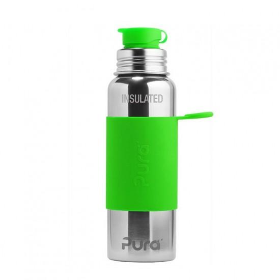 Ανοξείδωτο Ισοθερμικό Παγούρι με Πράσινη θήκη Σιλικόνης - Pura Sport - 475ml